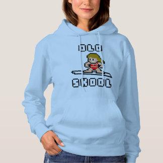 Old Skool Surfing (pale female, Blk) Hoodie