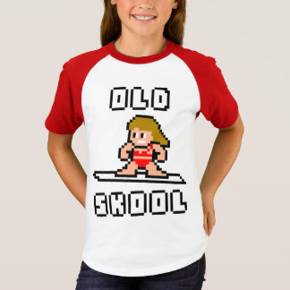 Old Skool Surfing (pale female, Blk) T-Shirt