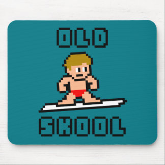 Old Skool Surfing (pale male, Blk) Mouse Mat