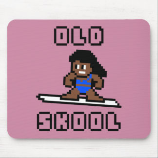 Old Skool Surfing (tanned female, Blk) Mouse Mat