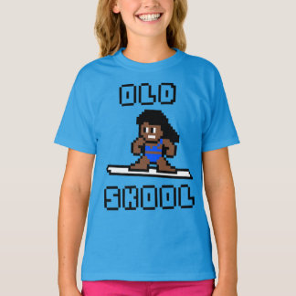 Old Skool Surfing (tanned female, Blk) T-Shirt