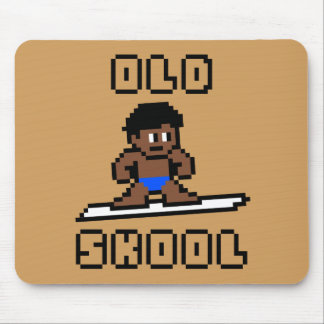 Old Skool Surfing (tanned male, Blk) Mouse Pad