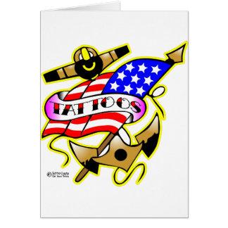 Old Skool Tattoo Anchor Flag Greeting Card