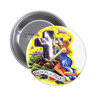 Old Skool Tattoo Rock Of Ages 6 Cm Round Badge