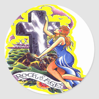 Old Skool Tattoo Rock Of Ages Round Sticker
