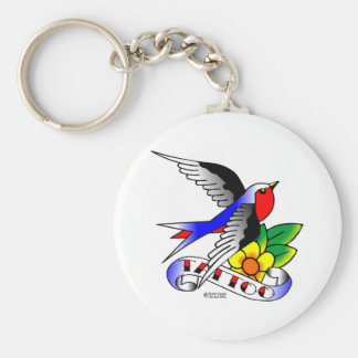 Old Skool Tattoo Swallow Basic Round Button Key Ring