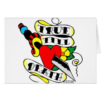 Old Skool Tattoo True Till Death Dagger Heart Greeting Card