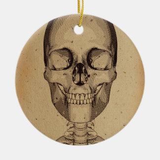 Old skull illustration round ceramic decoration