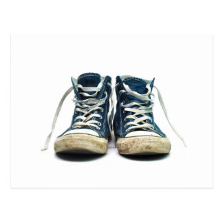 old sneakers dirty sport shoes white background postcard