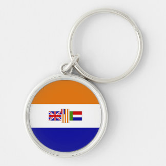 Old South African Flag Silver-Colored Round Key Ring