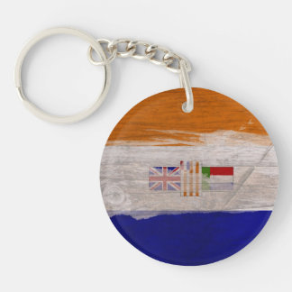 Old South African Flag Key Ring Single-Sided Round Acrylic Key Ring