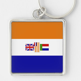 Old South African Flag Silver-Colored Square Key Ring