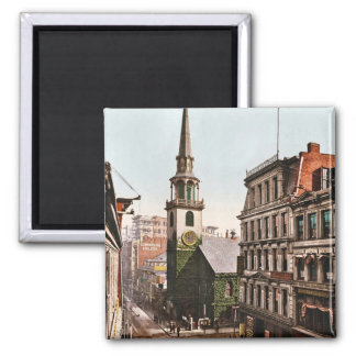 Old South Church Boston 1900 - Vintage Square Magnet