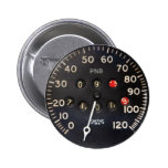 Old speedometer gauge from a vintage race car 6 cm round badge