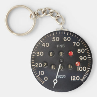 Old speedometer gauge from a vintage race car basic round button key ring