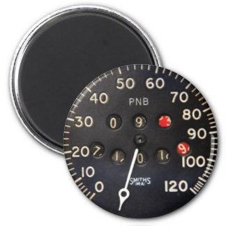 Old speedometer gauge from a vintage race car magnet