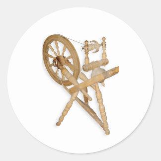 Old spinning-wheel round sticker