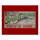 Old sportfishing sign. poster