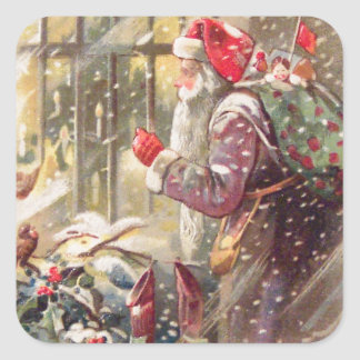 Old St. Nicholas with Gifts in Snow Vintage Square Sticker