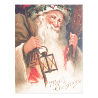 Old St. Nicholas with Lantern Vintage Postcard