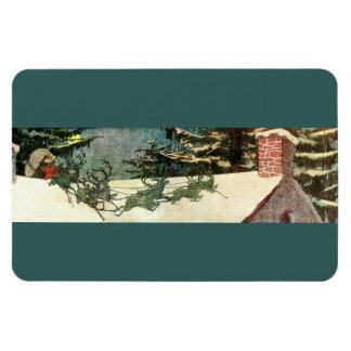 Old St Nick Vintage Santa Claus on Rooftop Rectangular Photo Magnet