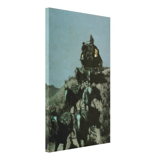 Old Stage Coach of the Plains by Remington Stretched Canvas Prints