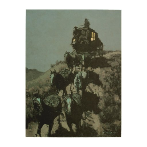 Old Stage Coach of the Plains by Remington Wood Print