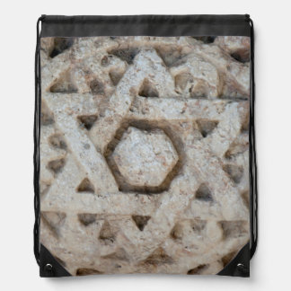 Old Star of David carving, Israel Drawstring Bag
