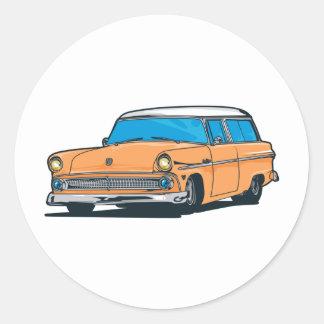 Old Station Wagon Classic Round Sticker