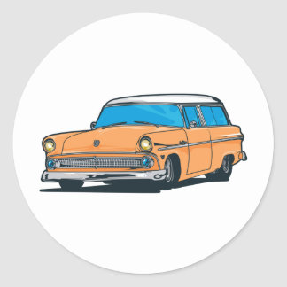 Old Station Wagon Round Sticker
