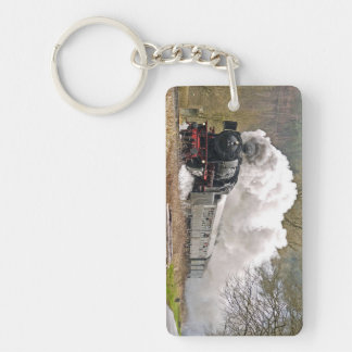 Old Steam Engine Pulling Cars Double-Sided Rectangular Acrylic Key Ring