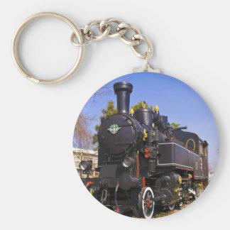old steam locomotive basic round button key ring