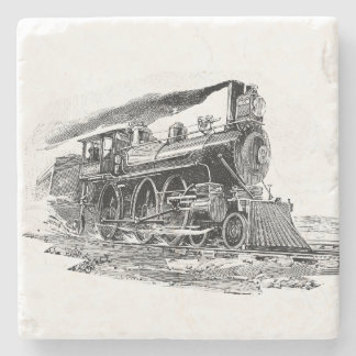 Old Steam Locomotive Stone Beverage Coaster