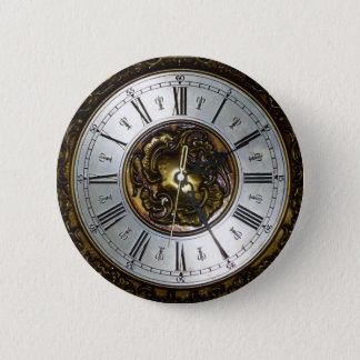 Old steampunk clock design accessoires, vintage 6 cm round badge