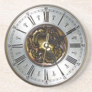 Old steampunk clock design accessoires, vintage beverage coasters