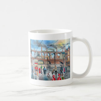 Old Stockport viaduct train oil painting Coffee Mug
