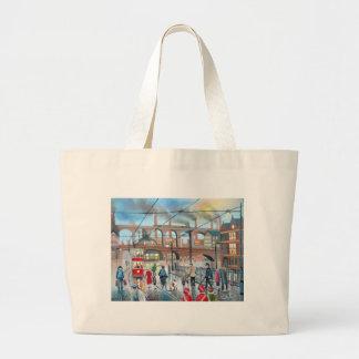 Old Stockport viaduct train oil painting Jumbo Tote Bag