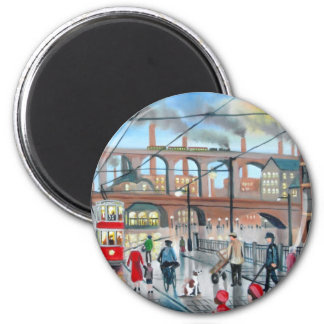 Old Stockport viaduct train oil painting Magnet