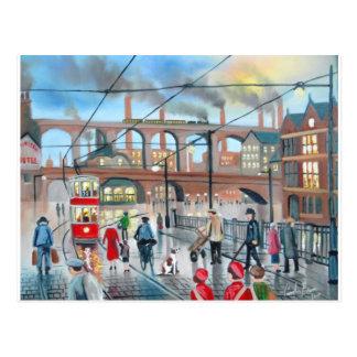 Old Stockport viaduct train oil painting Postcard