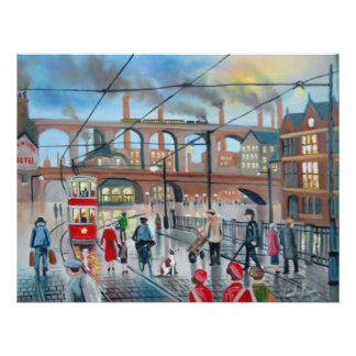 Old Stockport viaduct train oil painting Poster