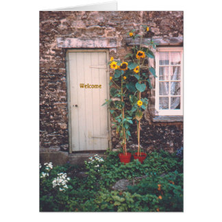 """OLD STONE COTTAGE AND SUNFLOWERS"" NOTE CARD"