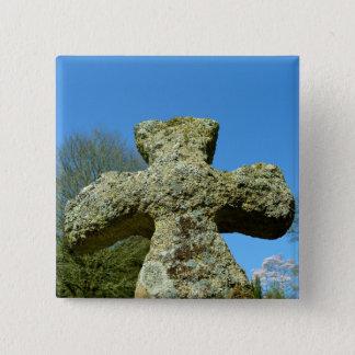 Old Stone Cross Church Cornwall England 15 Cm Square Badge