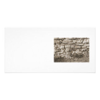 Old Stone Garden Wall. Sepia Color. Photo Greeting Card