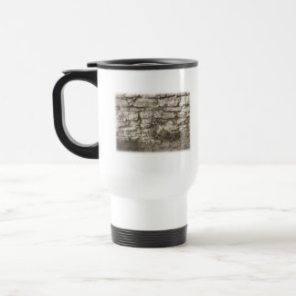 Old Stone Garden Wall. Sepia Color. Travel Mug