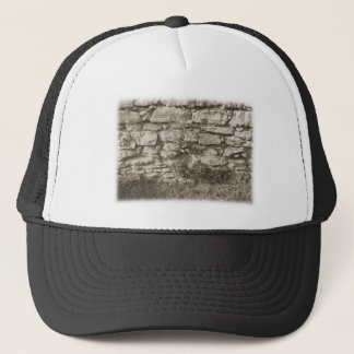 Old Stone Garden Wall. Sepia Color. Trucker Hat