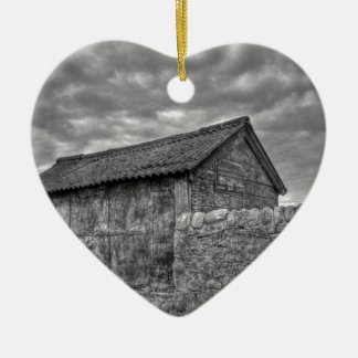 Old stone house in Lancashire Ceramic Heart Decoration