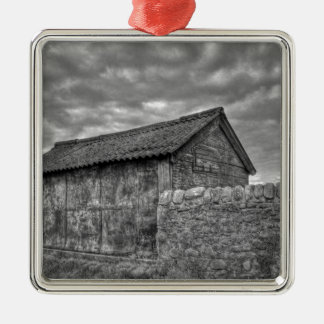 Old stone house in Lancashire Silver-Colored Square Decoration