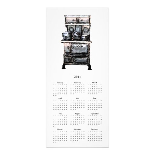 Old Stove and Tea Kettle, and Calender card Rack Cards