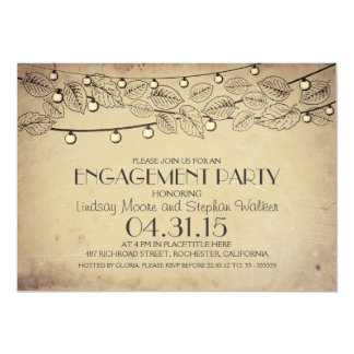 old string lights & tree leaves engagement party 13 cm x 18 cm invitation card