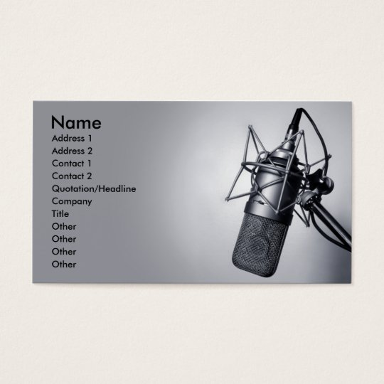 old studio microphone business card